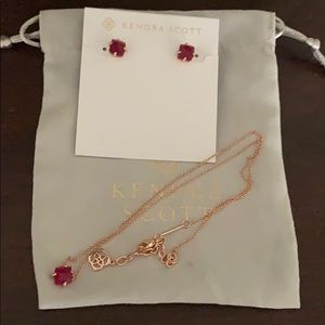 Kendra Scott Rose Gold/Red Set EUC
